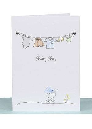 Baby boy greeting card clothesline