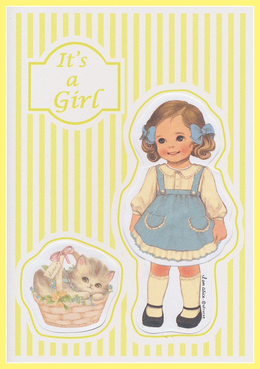 """It's a Girl"" Yellow Vintage Card"