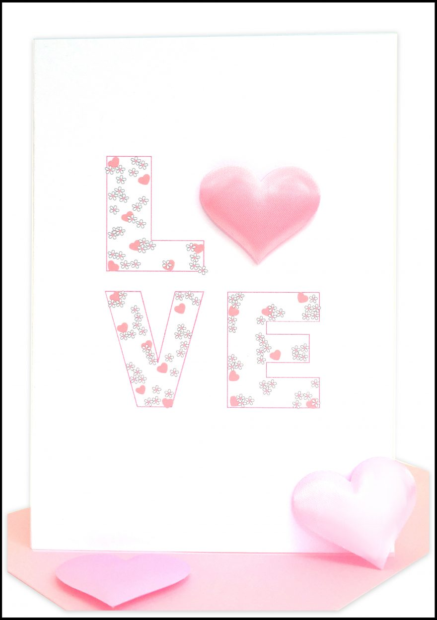 wholesale valentines card Pink LOVE