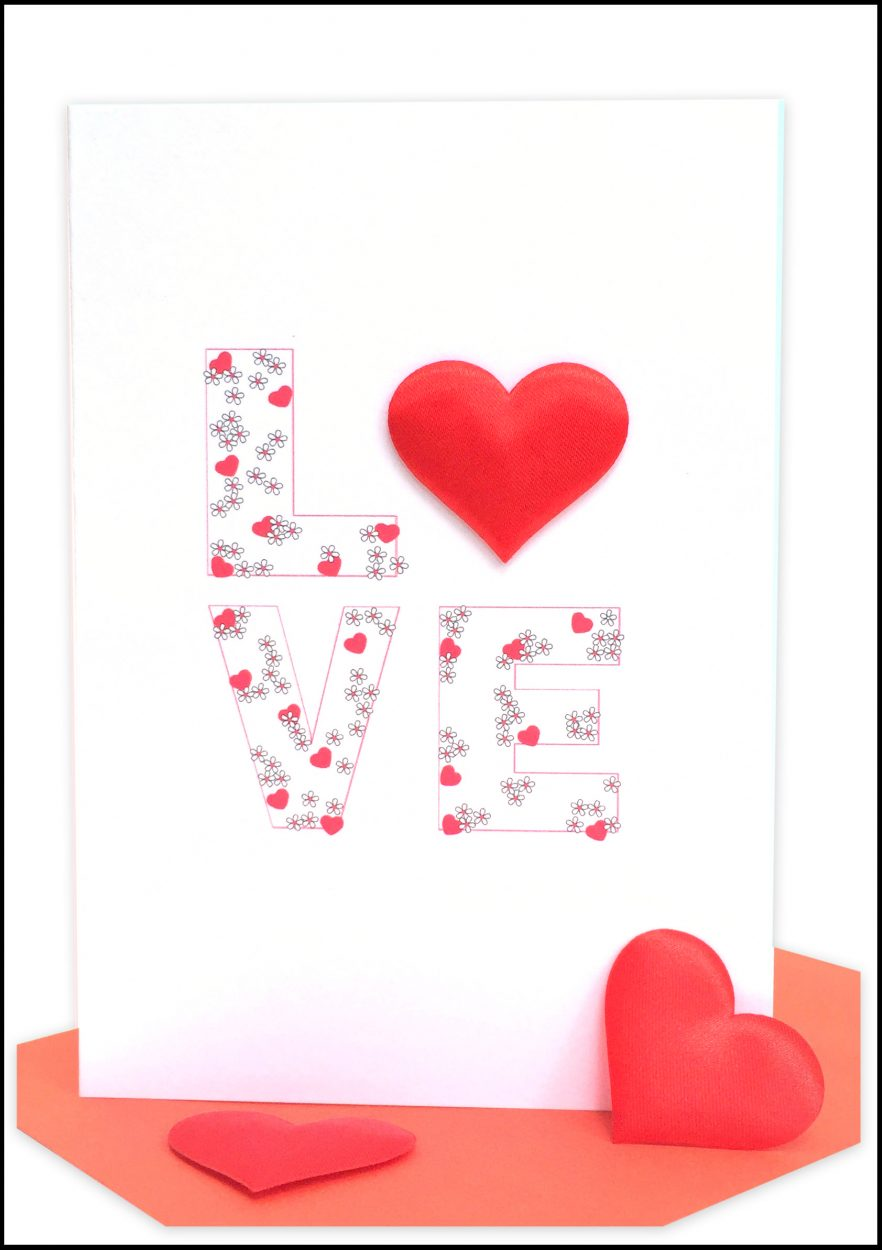 Valentines card red love wholesale bulk