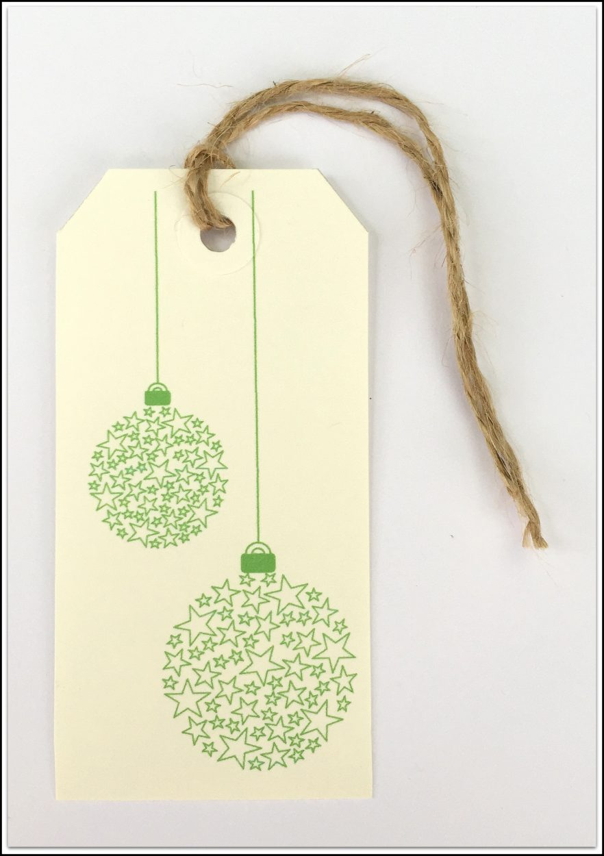 Handmade Christmas Tags Green Baubles