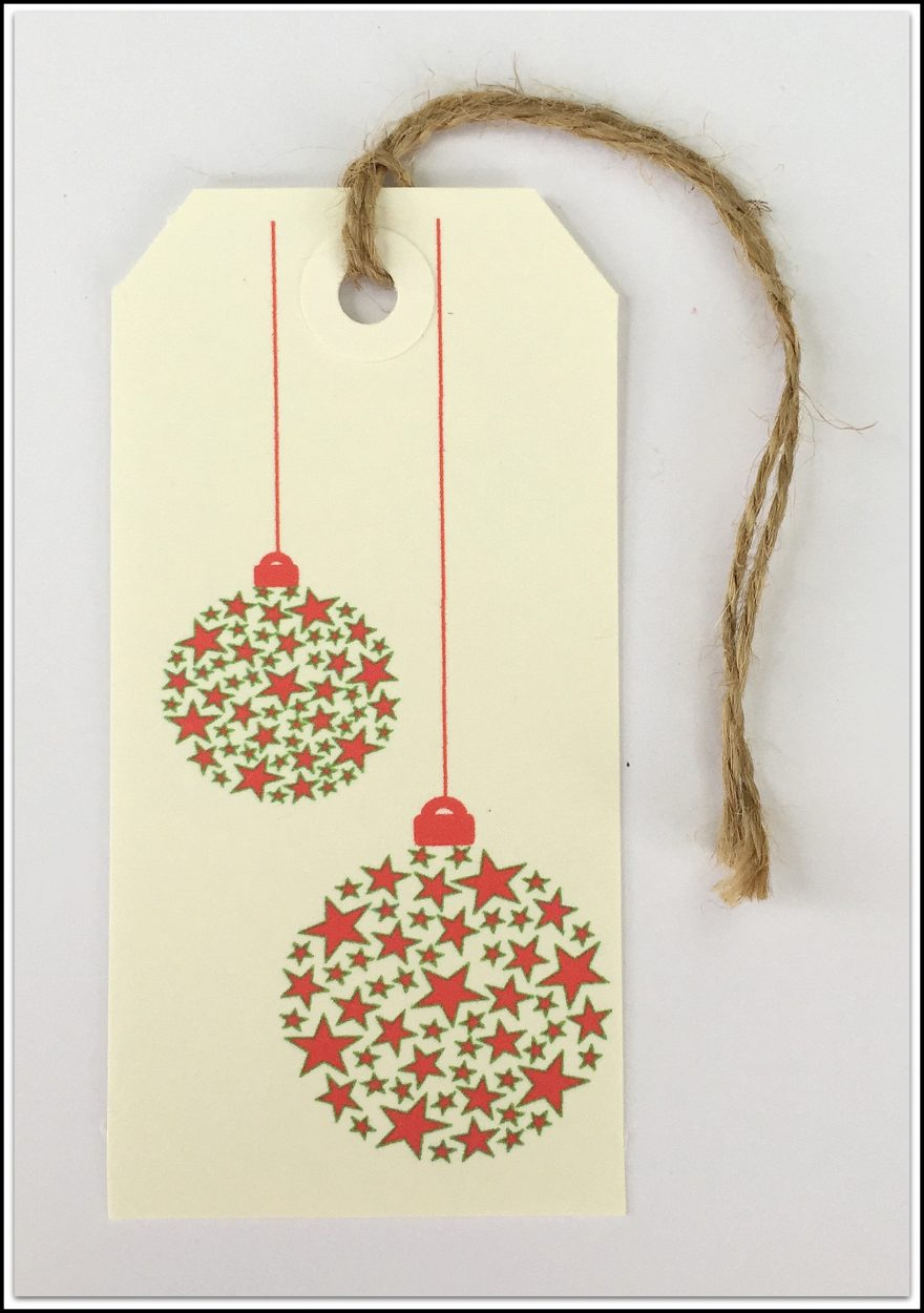 Christmas Tags Red & Green Baubles