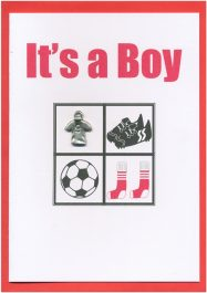 Congratulations It's a Boy Baby Boy Red Greeting Card Handmade Sport Soccer