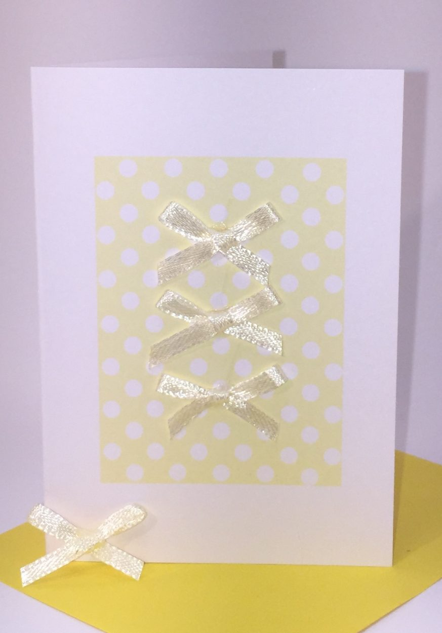 Blank Greeting Card Three Yellow Bows