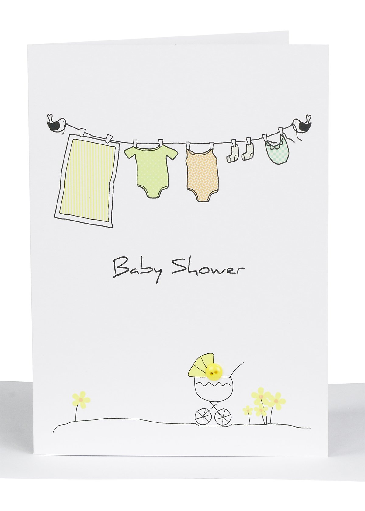 baby shower greeting card clothesline