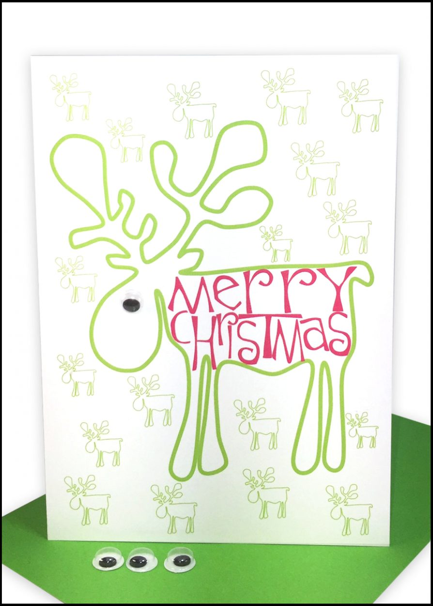 wholesale bulk Christmas Cards Merry Christmas Green Reindeer