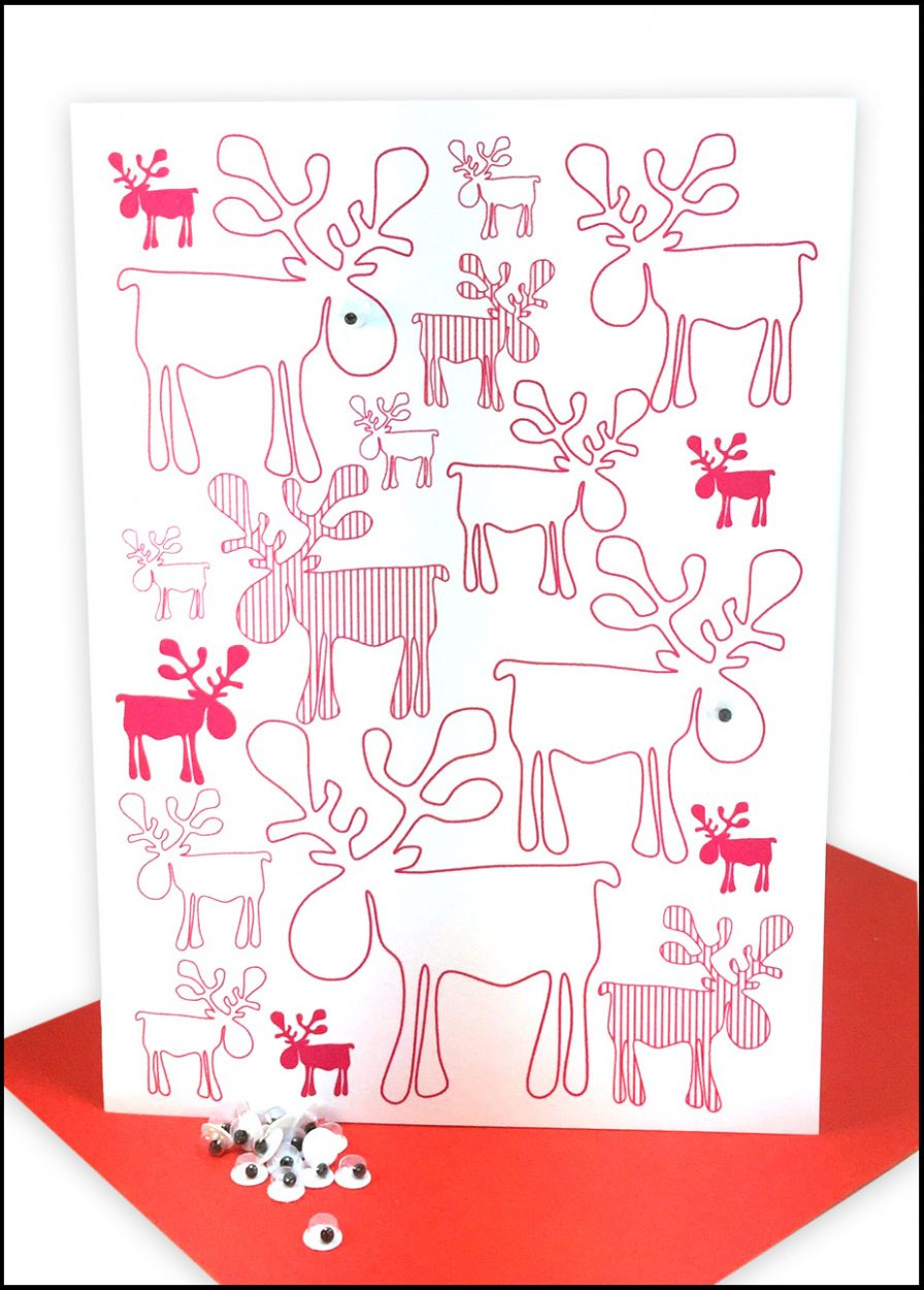 Christmas Cards Red Reindeers