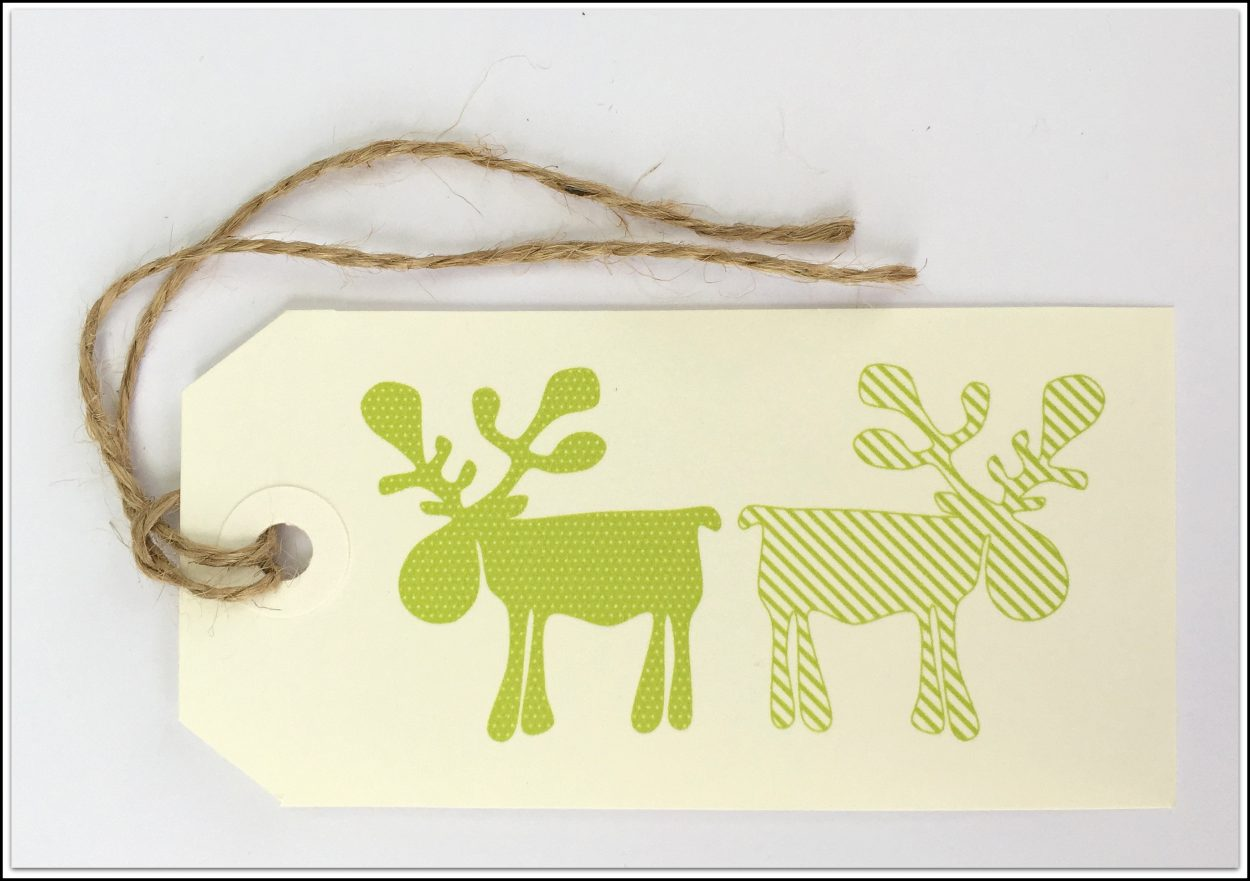 Christmas Tags Green Reindeers