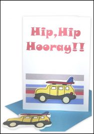 Handmade Hip Hip Hooray Gift Card Surfie Wagon