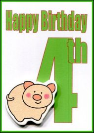 Wholesale Fourth Birthday Gift Card embellished with a wooden pig and a large number 4.