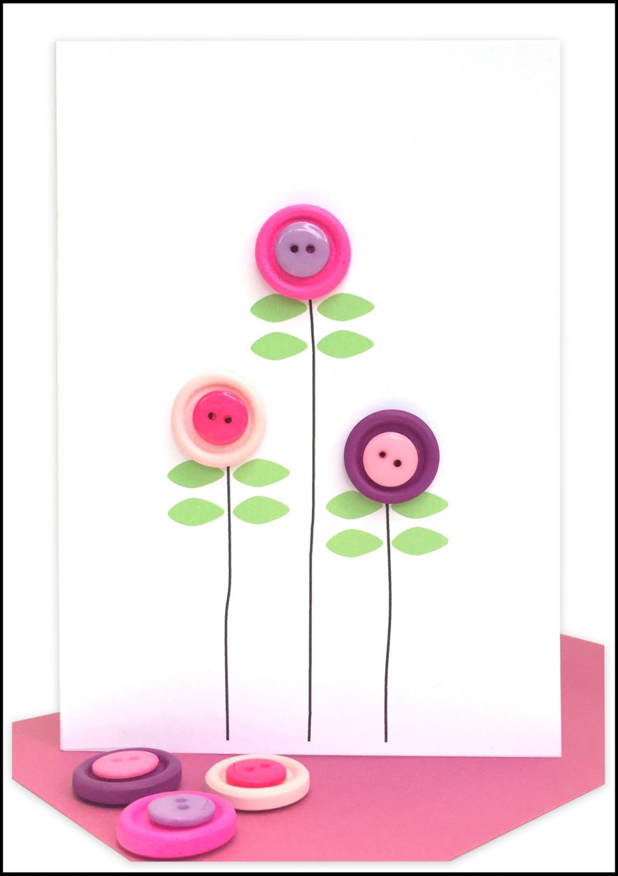 Blank Greeting Card Pink Poppies