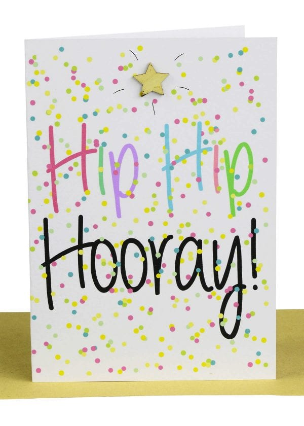 """Wholesale Hip Hip Hooray Large Card embellished with a wooden star, a background of coloured confetti and the wording """" Hip Hip Hooray """"."""