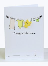 Congratulations Baby Greeting Card Clothesline