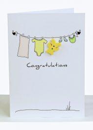Congratulations Baby Greeting Card Clothesline