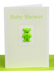 wholesale baby shower greeting card green teddy