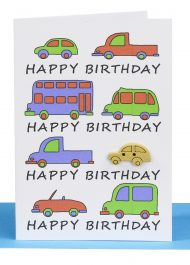 happy birthday gift card - cars and traffic