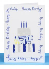 Birthday Gift Card Blue Cake