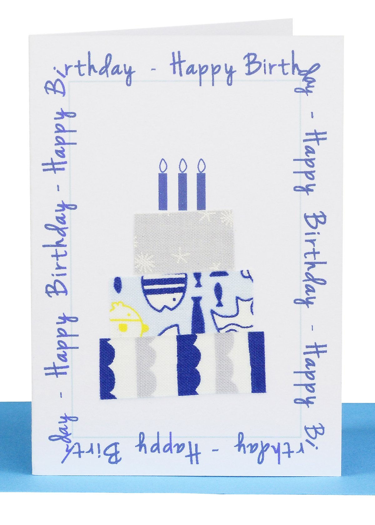 Happy Birthday Gift Card Blue Cake  Lils Wholesale Cards