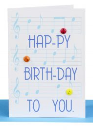 Happy Birthday Gift Card Blue Music