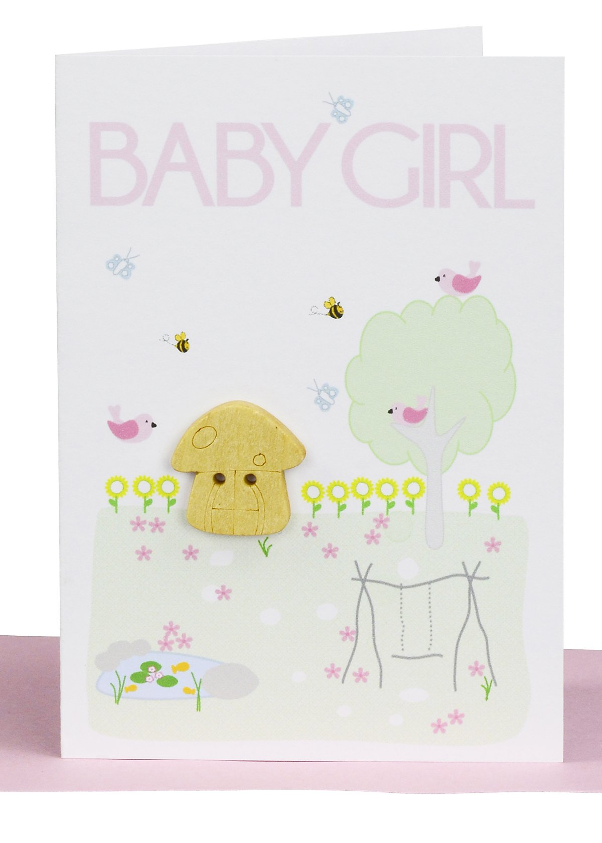 Baby girl gift card fairy garden lils cards handmade wholesale handmade baby girl greeting card embellished with a small wooden fairy mushroom in a surrounding garden kristyandbryce Images