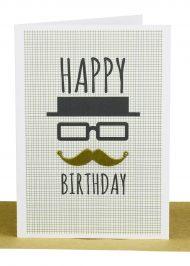 Happy Birthday Greeting Card Moustache