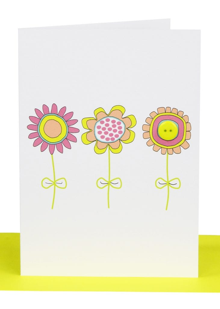 Wholesale blank gift card embellished with 3 printed flowers and a small yellow button.