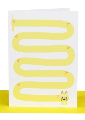 Wholesale blank greeting card embellished with a printed 'Long Yellow Cat' and 2 goggle eyes .
