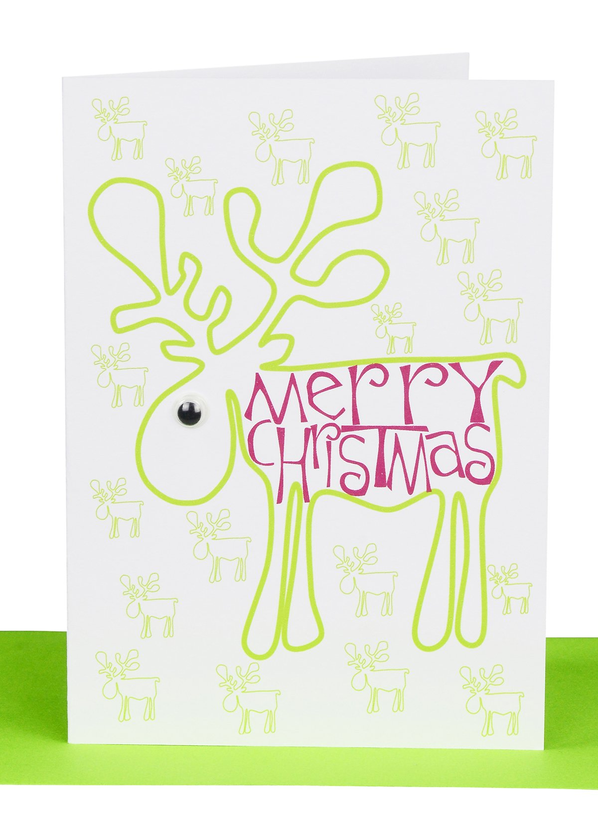 Christmas Cards Merry Christmas Green Reindeer Lils Cards Sydney