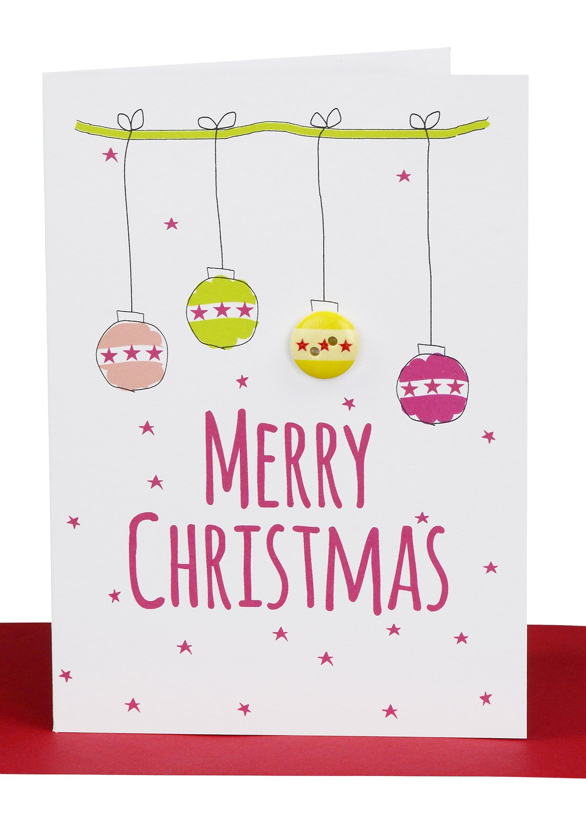 Wholesale christmas greeting card lils cards sydney wholesale christmas greeting card printed with christmas balls and embellished with a round wooden patterned button m4hsunfo