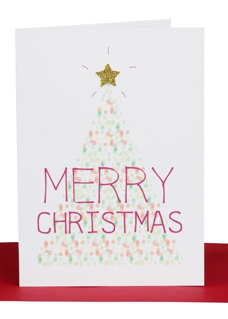 Wholesale Christmas Greeting Card printed with a Confetti Christmas tree and embellished with Gold Star and the wording 'Merry Christmas'.