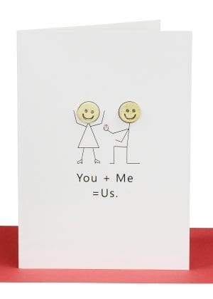 wholesale wedding cards You + Me = Us Wedding Greeting Card
