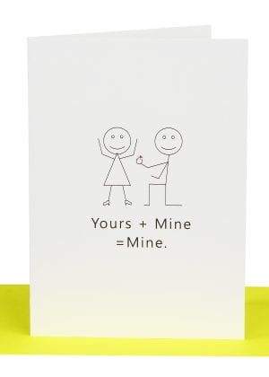 wholesale bulk wedding cards Yours + Mine = Mine Wedding Greeting Card