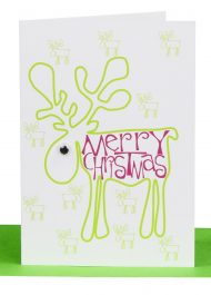 Wholesale Christmas Gift Card with a printed green Reindeer and the wording 'Merry Christmas' and embellished with a goggle eye.