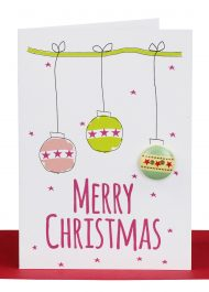 Wholesale Christmas Gift Card printed Christmas Balls and embellished with a round wooden patterned button and the wording 'Merry Christmas'. Each card comes individually wrapped with a red envelope and a cello bag for protection.