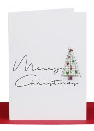 Wholesale Christmas Gift Card embellished with a wooden pattern Christmas Tree and the wording 'Merry Christmas