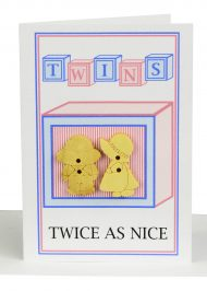 Wholesale Twins Card Handmade twinsBoy & Girl gift card embellished with 1 wooden girl button and 1 wooden boy button and the wording 'TWINS - Twice as nice'.
