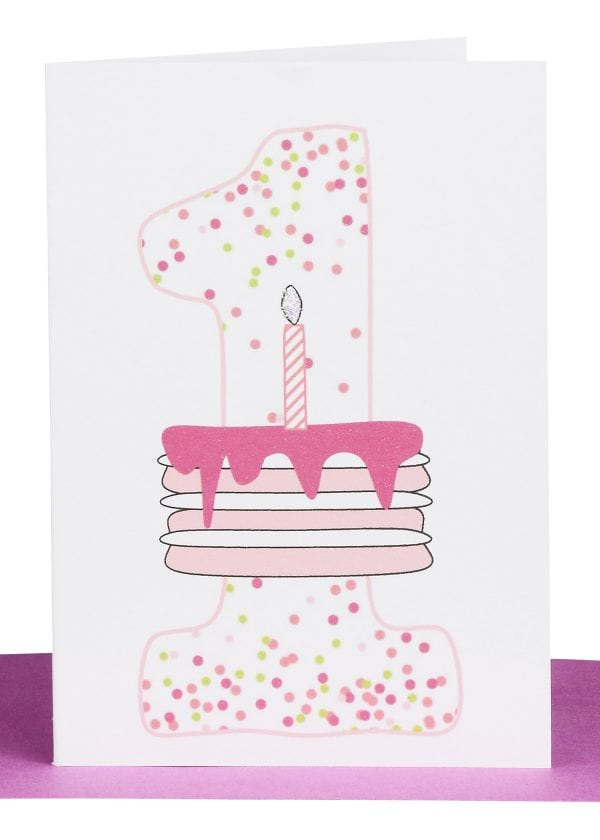 Girls 1st Birthday gift Card