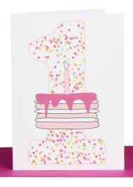 Girls 1st Birthday greeting Card