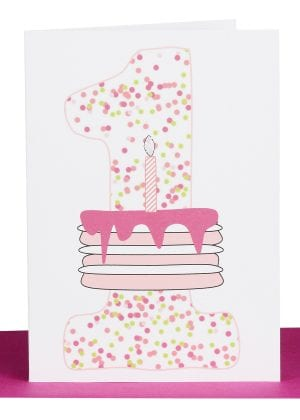 Girls 1st Birthday greeting Card