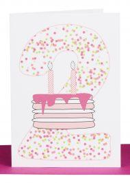 Girls 2nd Birthday greeting Card