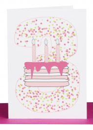 Girls 3rd Birthday greeting Card