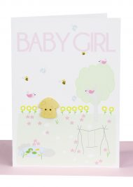 Handmade Baby Girl Greeting Card embellished with a small wooden Fairy Mushroom in a surrounding garden and the wording 'Baby Girl'.