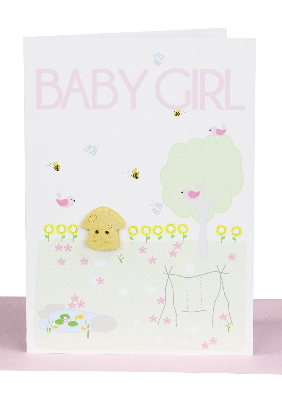 Baby girl greeting card fairy garden lils cards handmade handmade baby girl greeting card embellished with a small wooden fairy mushroom in a surrounding garden kristyandbryce Images