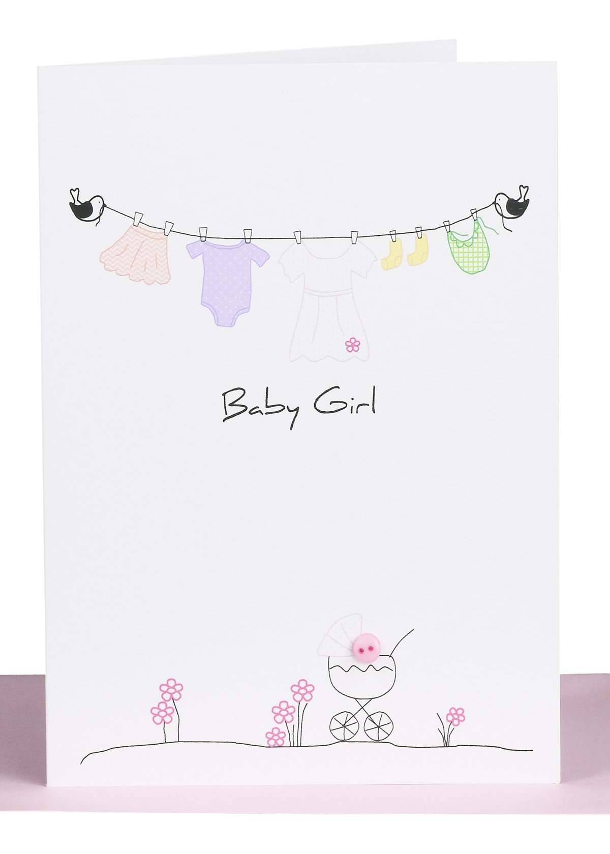 Baby girl greeting card lils wholesale handmade cards baby girl greeting card kristyandbryce Images