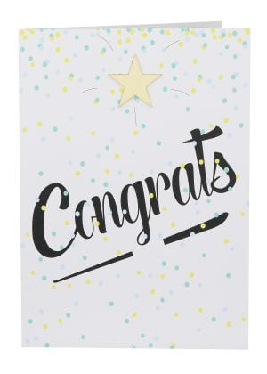 "Wholesale Congratulations Large Card embellished with a wooden star, a background of coloured confetti and the wording "" Congrats """