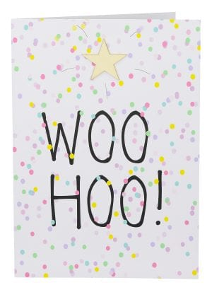 "Wholesale Large Card embellished with a wooden star, a background of coloured confetti and the wording "" WOO HOO! ""."