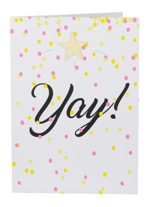 "Wholesale Yay Large Card embellished with a wooden star, a background of coloured confetti and the wording "" YAY! """