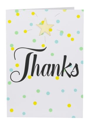 "Wholesale Thank You Large Card embellished with a wooden star, a background of coloured confetti and the wording "" Thanks ""."
