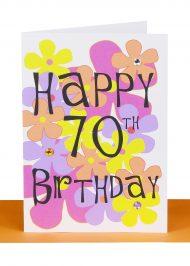 Happy 70th birthday greeting Card Flowers
