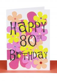 Happy 80th Birthday Greeting Card Flowers